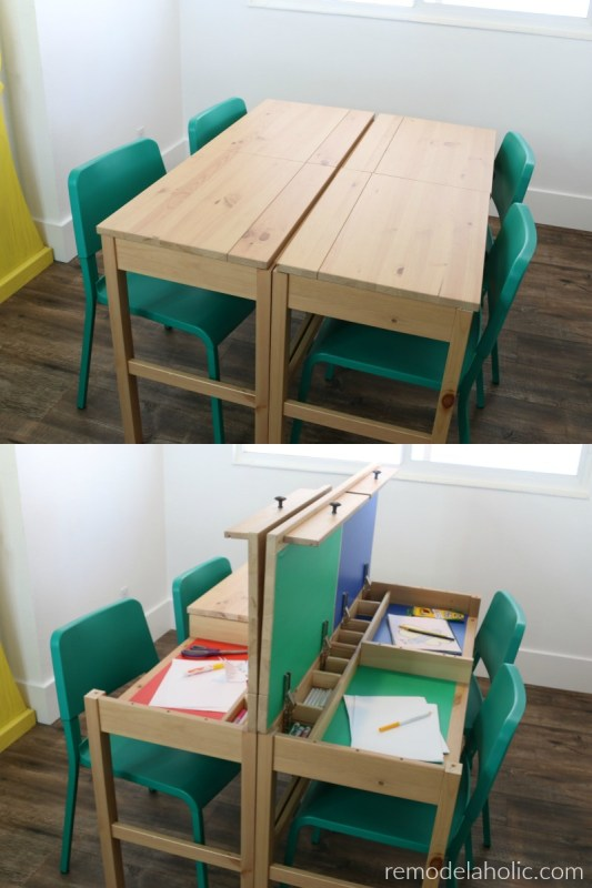 IKEA desk hack table for dual purpose use - dining or homework table with hidden compartments for homework, computer, or art workstation - perfect for small spaces, tiny home, homeschooling, or multipurpose rooms #remodelaholic