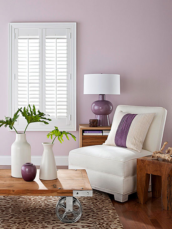 Mauve Living Room With Ultra Violet Accents Via BHG