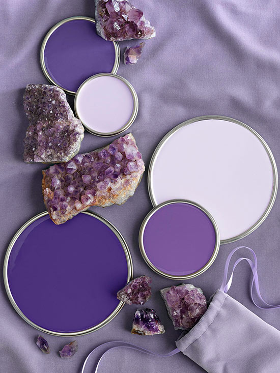 Great tips for decorating with 2018 Pantone Color of the Year Ultra Violet - Purple Paint Colors Via BHG