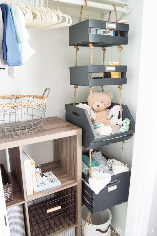 Best DIY Tutorials And Tips, Hanging Crate Nursery Closet Storage Table And Hearth