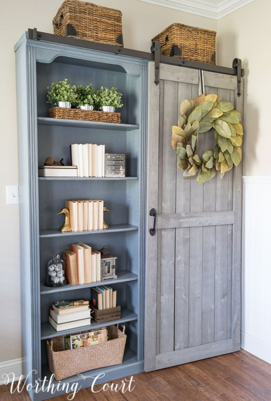 Bookcases With A Diy Sliding Barn Door