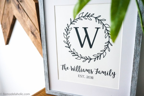 Custom Printable Farmhouse Monogram Wreath Print Set (5)