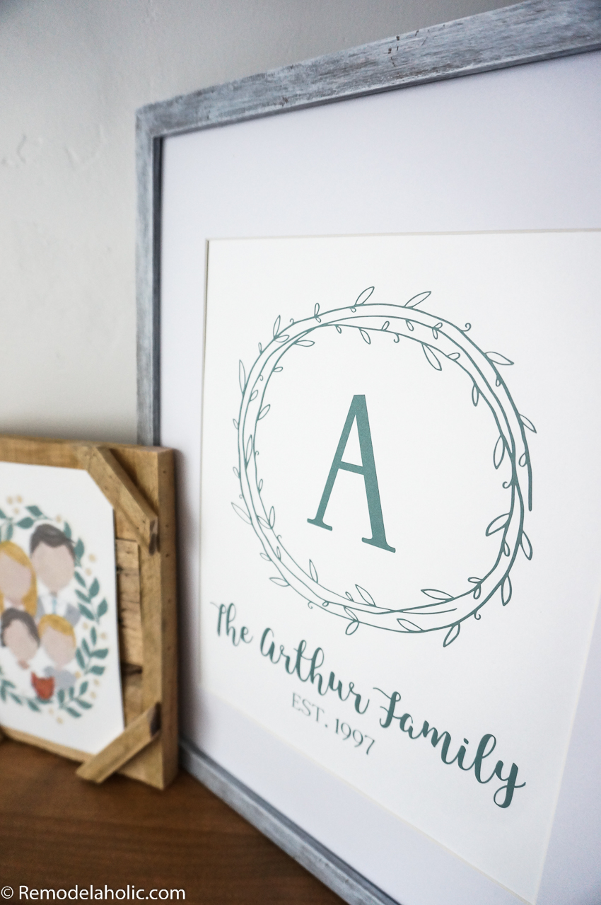 remodelaholic custom printable farmhouse monogram family name