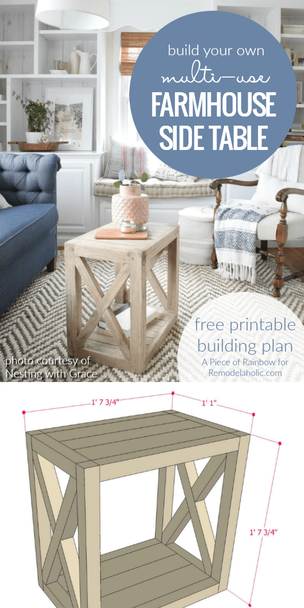 DIY Farmhouse Side Table Building Plan
