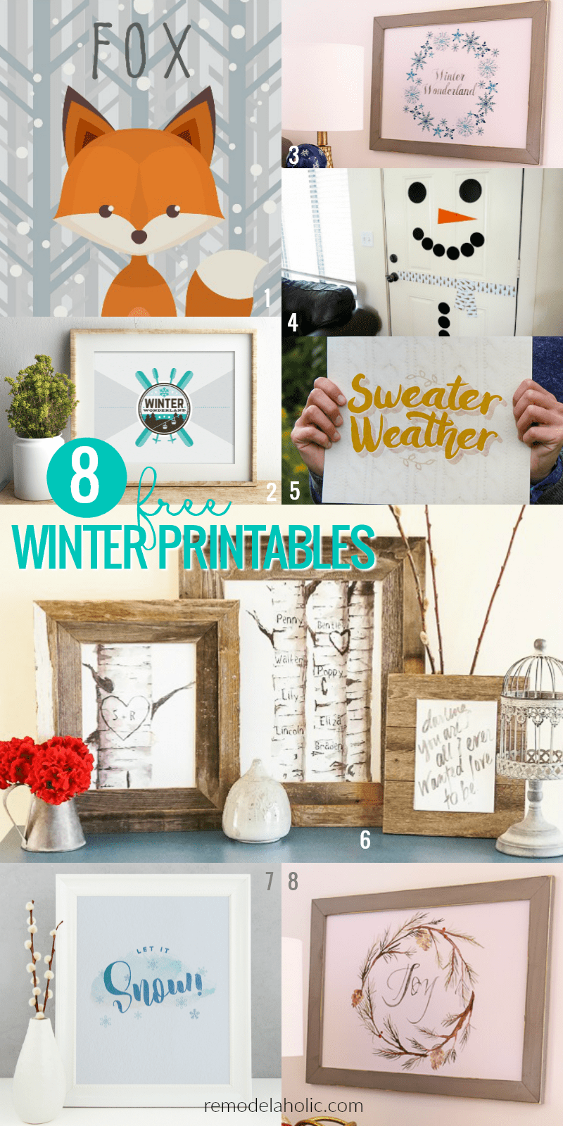 Free Winter Printables To Decorate For January And February | Welcome the chilly weather with this free winter printable Let It Snow wall decor. Perfect for decorating before and after Christmas, whether you have snow or not. Plus 9 more FREE winter printables for your home decor!