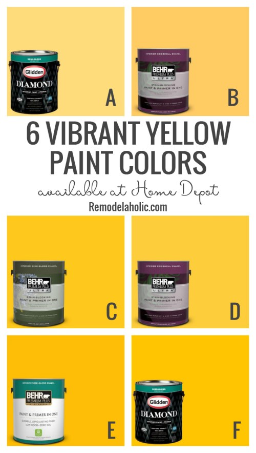 6 Vibrant Yellow Paint Colors Available At The Home Depot Remodelaholic