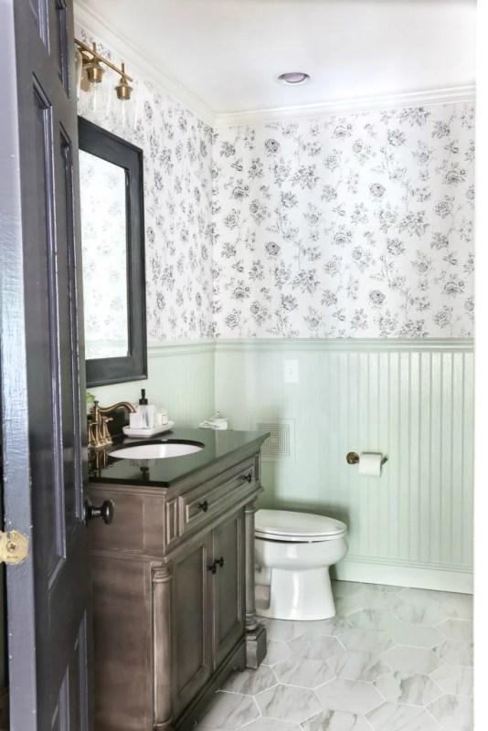 Aqua Meets Urban Powder Room Makeover Blesser House