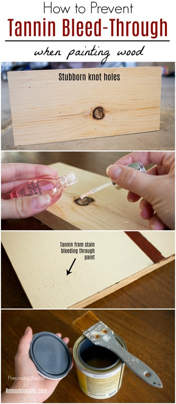 How To Prevent Tannin Bleed Through Painted Wood | Trouble with tanning bleed through on your handmade DIY or refinished furniture? These two easy tips will prevent a spotty finish from ruining your painted wood project. #remodelaholic