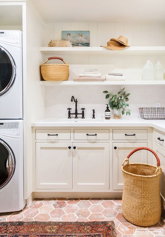 remodelaholic modern farmhouse laundry room inspiration. Black Bedroom Furniture Sets. Home Design Ideas