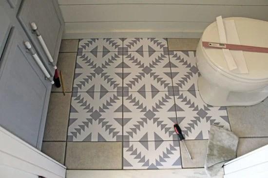 Floor Stickers To Update Tile Floor, The Honeycomb Home
