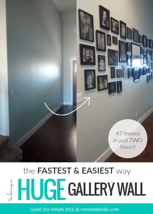 How To Quickly And Easily Hang A Huge Gallery Wall Of Frames @remodelaholic