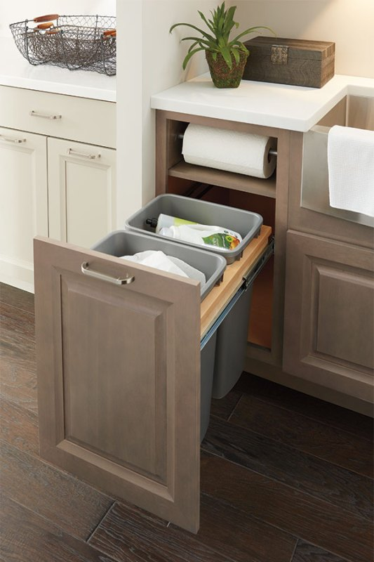 Paper Towel Cabinet With Garbage Can Slide Out, Schrock Cabinetry