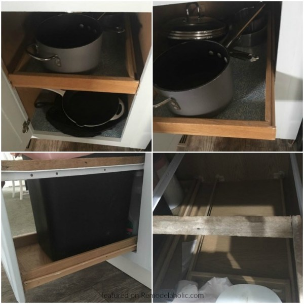 Retrofitted Slim Pull Out Trash Can And Recycling Bin Cupboards In Existing Cabinets Diy, Reader Jeannette Featured On @Remodelaholic