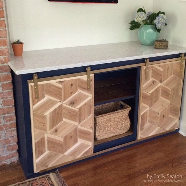 Emily Seaton, Diy Hexagon Barn Doors For Cabinet Featured @Remodelaholic Text