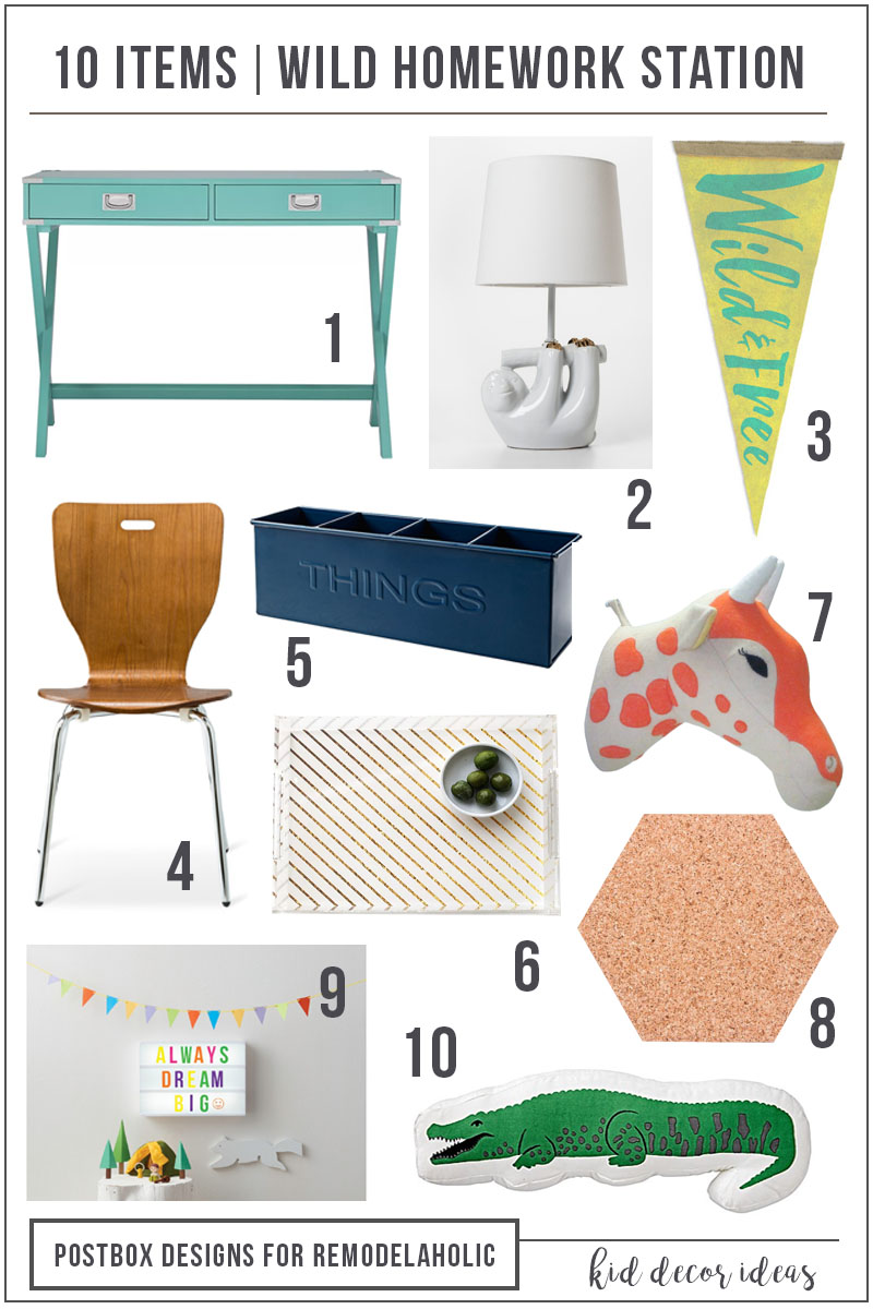 Create wild and colorful kids desk and homework station with these 5 tips and 10 fun product picks. #remodelaholic
