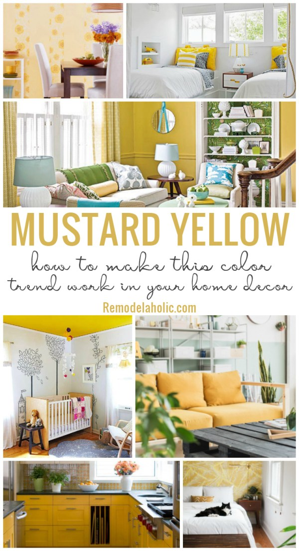 How To Make Mustard Yellow Work In Your Home Decor | The bright and bold color of mustard yellow is popping up everywhere. See how to decorate with this fun color, from decor picks to best mustard yellow paint colors. #remodelaholic #colorfiles