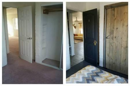 Bridget, Desert Homestead Renovation Bedroom Before And After With Wood Closet Doors