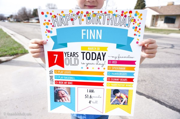 Custom Printable Infographic Birthday Poster For Kids Photo Milestones #remodelaholic (2)