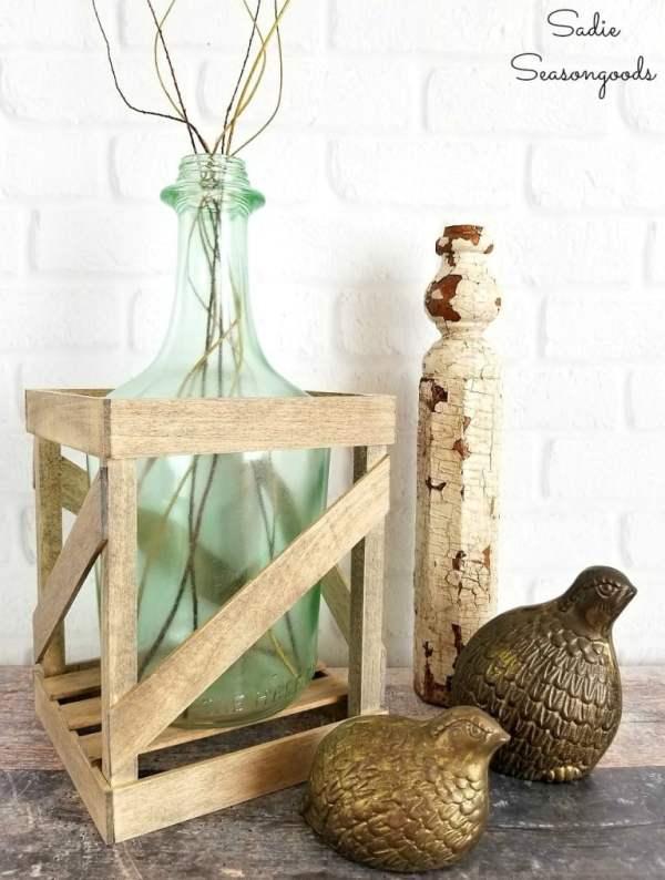 Mini Demijohn Crate Tabletop Vase, Sadie Seasongoods
