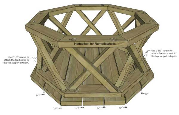 Outdoor Coffee Table Octagon Attach Top Boards