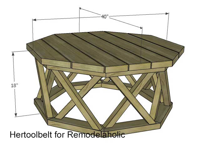 How to build an outdoor octagon coffee table with lattice legs for Octagon coffee table plans