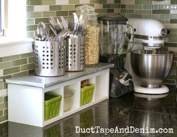 White Kitchen Shelf Makeover, Duct Tape And Denim