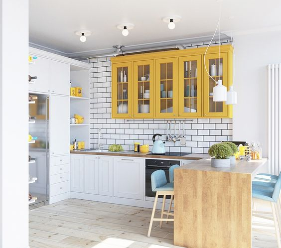 Modern white and yellow kitchen via Home Designing | Yellow Kitchen Inspiration #Remodelaholic