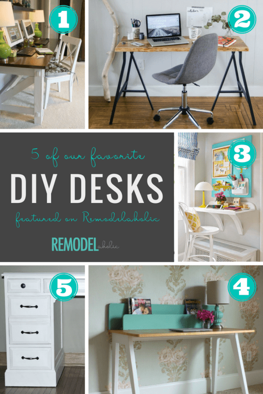DIY desk ideas -- from single modern desks to a double farmhouse desk for two computers, you can build a desk to fit your home office needs perfectly. #remodelaholic