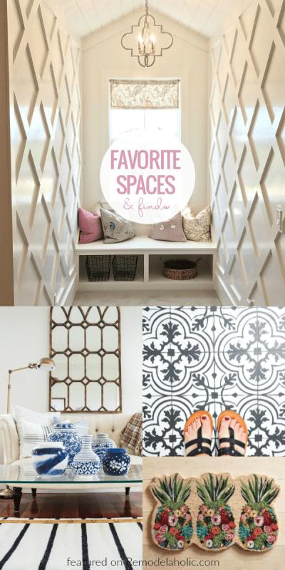 Friday Favorites, Lattice Wall Treatment, Floral Pineapple Doormat, Painted Vinyl Floor #remodelaholic