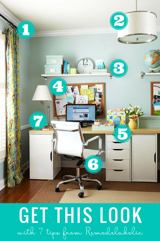 Decorate a charming and functional organized home office with these tips and furniture picks. #remodelaholic #getthislook