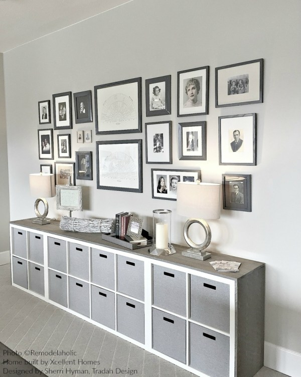 Black And White Photo And Family Genealogy Chart Gallery Wall With IKEA Hack Wood Wrapped Cubbies Homeshow Via #remodelaholic