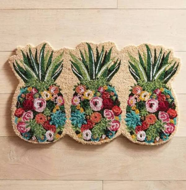 Floral Pineapple Doormat