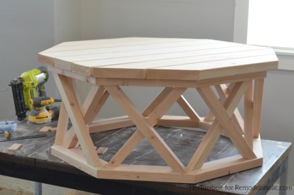 How To Build A DIY Round Wood Coffee Table Base For Under $100