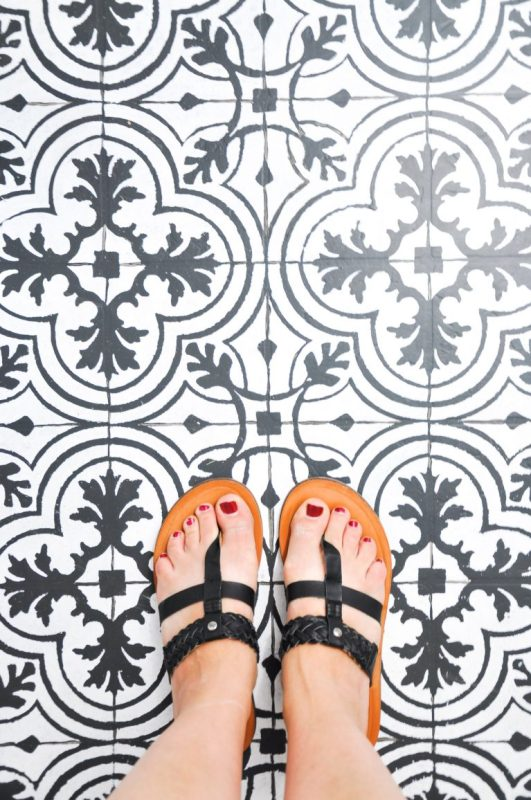 Paint Vinyl Floor To Look Like Cement Tile, Cherished Bliss