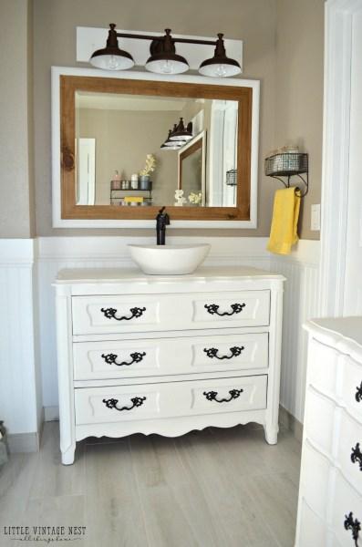 Old Dresser Turned Bathroom Vanity 24