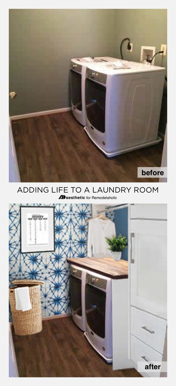 Real Life Rooms: A Simple Laundry Room Update to Add Color and Character #remodelaholic