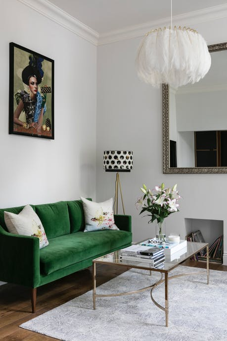 Remodelaholic Color Files Jade Green Couch 1
