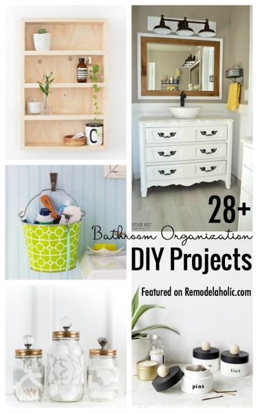 A bathroom can be calming when it is organized. Find a place for everything with these 28+ Bathroom Organization DIY Projects featured on Remodelaholic.com #bathroom #bathroomorganization #diyprojects #diybathroom #diyorganization