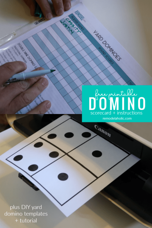 Free Printable Domino Scorecard, Game Instructions, And Yard Domino Templates And Tutorial| Free printable domino scorecard and instructions for 4 family-friendly domino games - play indoors or outdoors with the included DIY yard domino tutorial #remodelaholic