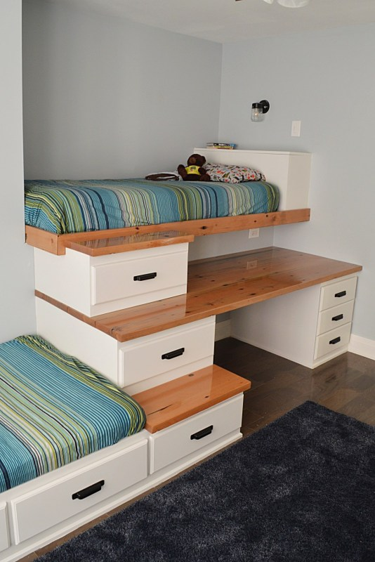 Shared Boys Room With Two Beds, Loft Bed Over Desk, The Vanderveen House