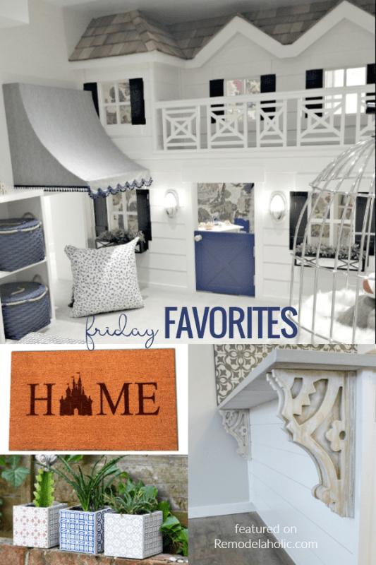 Friday Favorites #remodelaholic Amazing Indoor Playhouse, Diy Carved Corbels, Tile Planters, Disney Doormat, And More