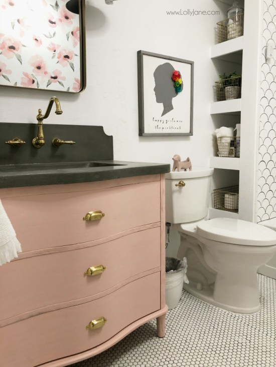Millennial Pink: How to Decorate and Accent Your Home Decor | Millennial Pink Bathroom By Lolly Jane featured on #Remodelaholic #colorfiles