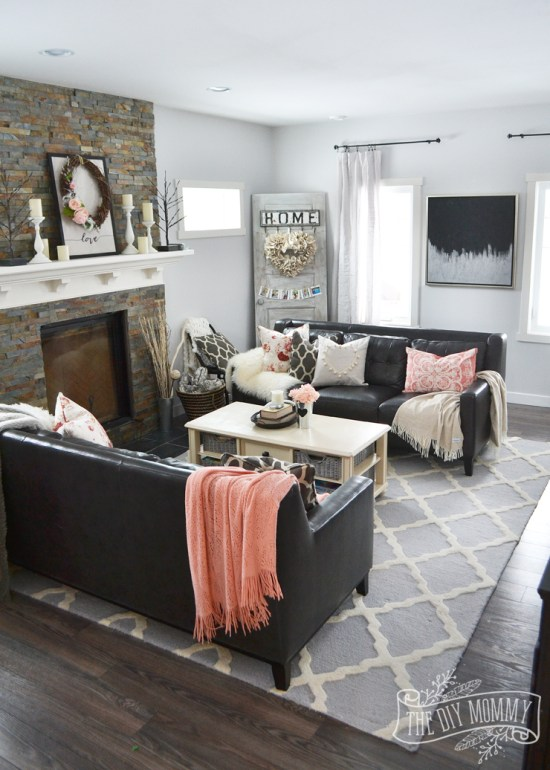 Millennial Pink: How to Decorate and Accent Your Home Decor | The DIY Mommy Living Room featured on #Remodelaholic #colorfiles