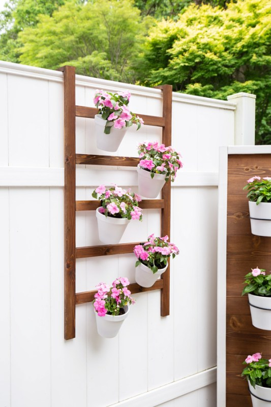 Easy To Build Vertical Planter, Wood Ladder To Hang On Fence Or Wall Angela Marie Made Featured On Remodel
