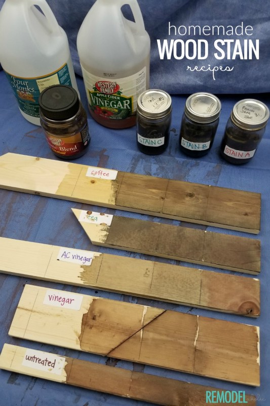Homemade Wood Stain Recipes Using Household Ingredients To Age Wood Quickly #remodelaholic