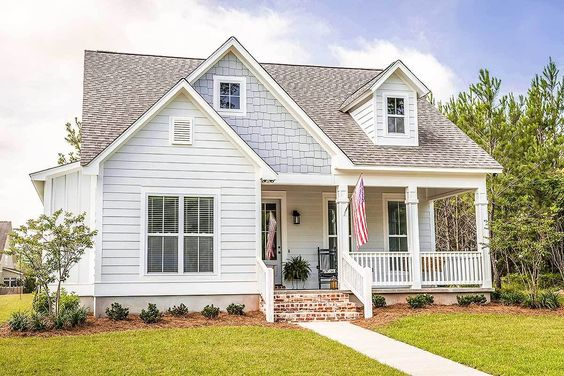 Plain to Pretty Curb Appeal Inspiration | Adding a Porch and Shutters