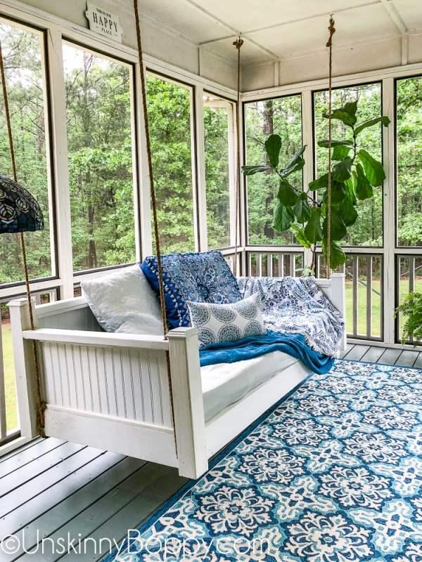 Back Porch Bed Swing Makeover 21