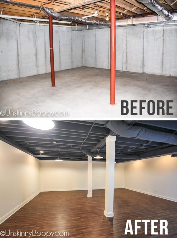 Basement Remodel With Painted Blue Ceiling Before After 2 760x1024