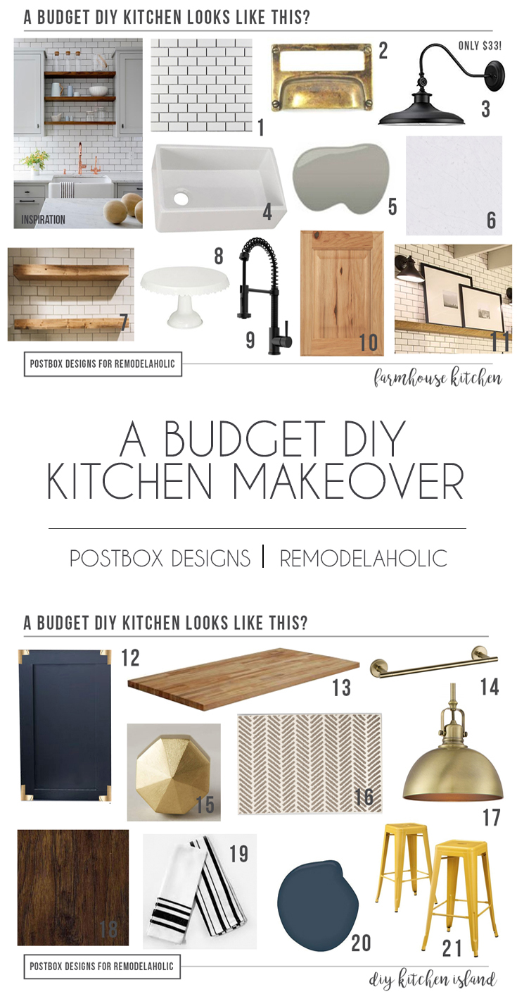How to Design a Budget Farmhouse Kitchen + Island | Design the farmhouse kitchen of your dreams, on a budget! It doesn't have to be expensive to look luxe -- and a farmhouse kitchen doesn't have to be WHITE! See our picks for natural wood cabinets in a farmhouse kitchen, plus a budget-friendly DIY kitchen island hack. #remodelaholic