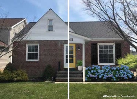 Plain to Pretty Curb Appeal Updates, Adding a Porch and Shutters
